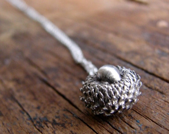 Solid Silver Botanical Acorn Necklace Woodland Jewelry Charm Necklace Botanical Jewelry Minimal Jewelry