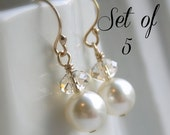 Bridesmaid earrings, crystal and pearl earrings, gold earrings, 14K gold filled ear wires, white or ivory pearls, champagne crystals