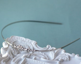 Flower headband vintage style silver elegant bridal skinny delicate floral bridesmaid wedding hair accessory