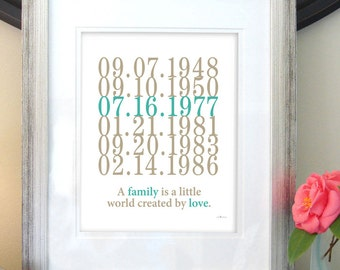Subway Art, wedding gift, family dates, nursery wall art, A family is a little world created by love