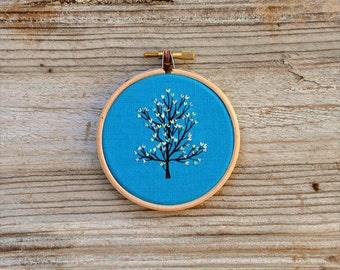 mixed media embroidery hoop art - Tiny Tree II