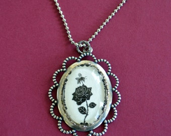 Sale 20% Off // The BEE and The ROSE Necklace - pendant on chain - Silhouette Jewelry // Coupon Code SALE20