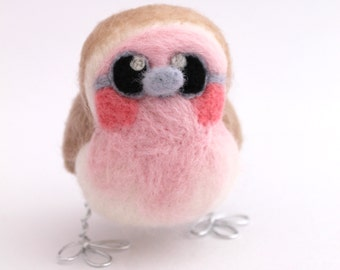 Pink Robin Girl Needle Felted Bird