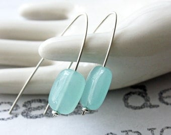 Mint Chalcedony Sterling Silver Earrings, Modern Aqua and Sterling Silver Earrings, Minimalist Blue and Silver Earrings