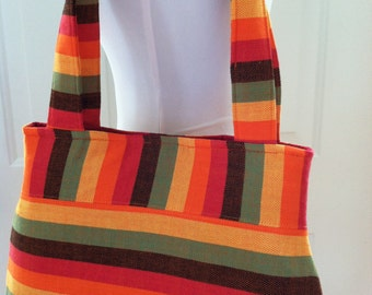 Woven Wrap Scrap Purse/Shoulder Bag Tote-  Girasol Marley, orange weft, red interior