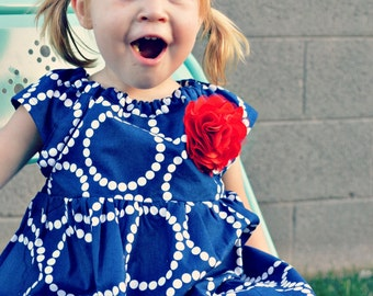 Dress baby girl dress red white blue outfit navy toddler nautical dress USA baby shower gift birthday dress flower girl dress  photo shoot