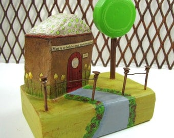 Paper Mache  Chubby Little House Number 222 with Tree , Yard and Fence