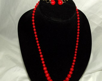 Vintage Necklace Earrings Red Jewelry Set Early Plastic Demi Parure 1950s 1960s Mid Century