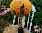 Halloween Primitive Cat and Spooky Pumpkin houses ....Folk Art Painting ...Fall Decor..  FAAP