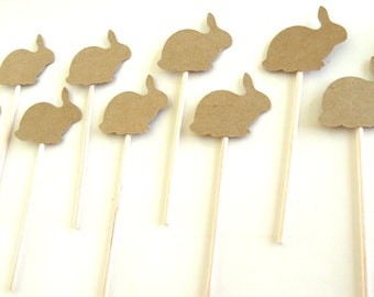 Kraft Bunny Cupcake Toppers - Set of 12 Toppers