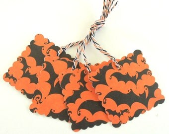 Black and Orange Bat Halloween Gift Tags - Set of 4 Tags