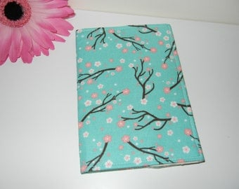 CLEARANCE Fabric Passport Cover with Turquoise Branches RTS