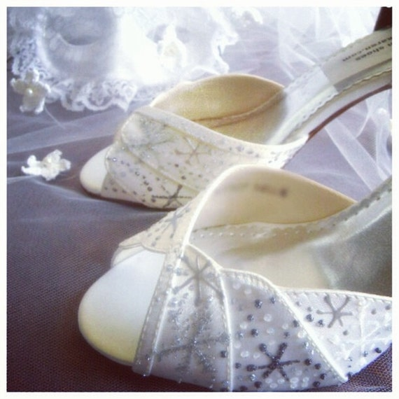 Wedding Shoes Bridal snowflakes  Winter Wedding Lindsey