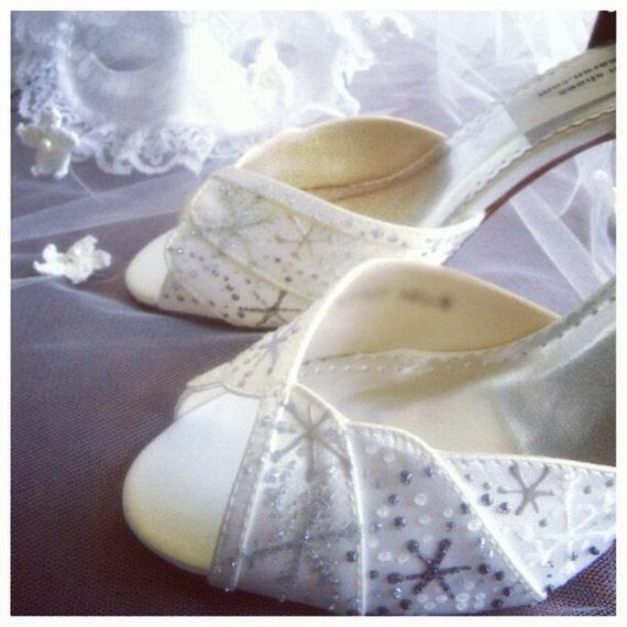 Wedding Shoes Bridal snowflakes  Winter Wedding Lindsey