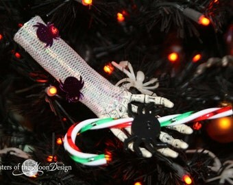 Skeleton hand Nightmare ornament collection decoration halloween christmas tree festive decor -- candy cane spider -- By Sisters of the Moon