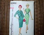 Vintage 50s Wiggle Dress Sewing Pattern Simplicity 3084 Size 14 Bust 34