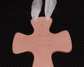 Personalized ceramic cross with rounded edges