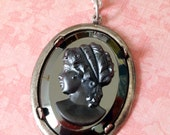 Lady Cameo in Faux Hermatite - 30x40mm