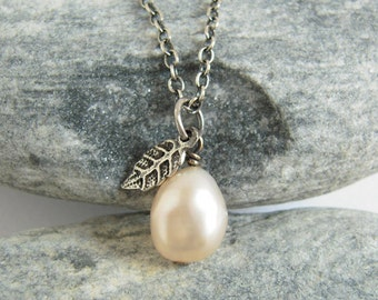 Cute White Pearl Necklace With Tiny Leaf Charm, Oxidized Sterling Silver Chain, June Birthstone, Rustic Jewelry