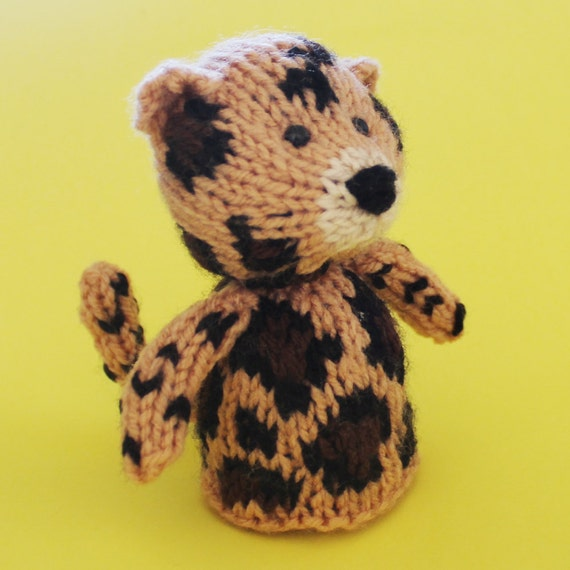Leopard Knitting Pattern : Leopard Toy Knitting Pattern (PDF) Toy, Egg Cozy & Finger Puppet instruct...