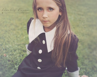 Black and White Dress Pointed collar and cuffs ... children clothing costume