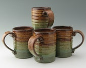 Pottery 16 oz Spiral Beer Mug Ready to Ship in Honey and Sage Green