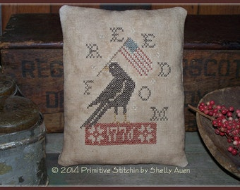 "Primitive Americana ""Freedom Crow Pillow Tuck"" Cross Stitch E-Pattern PDF"