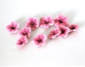Cherry Blossom Beads, Polymer Clay Beads, Light Pink Flowers, Flower Beads 10 pieces