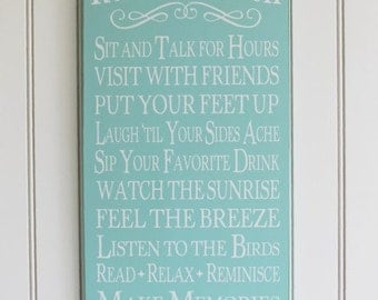 Wood Sign Rules of the Porch Wall Decor Summer Home Decor Wall Decor Painted Wall Art