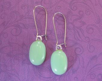 Mint Green Earrings,  Kidney Wire Earrings, Pastel Green Fused Glass Jewelry - Silvia - 304 -4