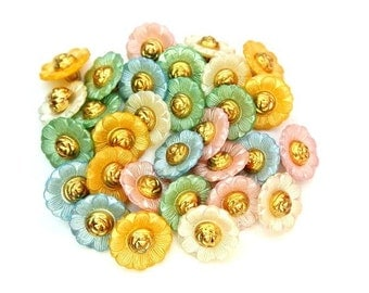 30 Vintage plastic flower shape buttons 5 colors 18mm
