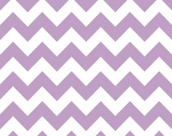 SALE Chevron Medium Stripe Lavender Cotton Fabric