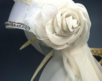 Wedding Veil, Silk Veil, Bridal, Butterflies,  Rosalba Valentino Couture, 1920's Inspired,  One of a Kind Wedding Veil, White Wedding