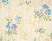 1920's Vintage Wallpaper - Antique Floral with Blue and Purple Flowers on Tiny Stripe
