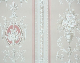 1930's Vintage Wallpaper - Victorian Floral Stripe with White Roses on Beige