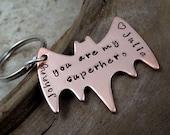 Superhero Key Chain Personalized Names Dates- Copper Batman Key Ring - Fathers Day - Boyfriend Husband Partner
