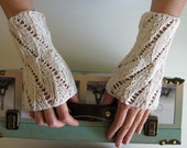Lace Arm Warmers Knitted in White Cotton