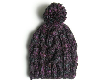 Pom Pom Beanie, Tweed Purple, Chunky Knit Hat, Bobble Hat, Cables Beanie, Knitted Hat, Womens Beanies, Cute Beanie, Hand Knit Hat