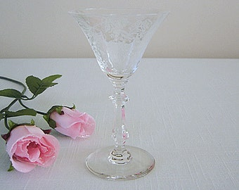 "SALE now 10.00 Vintage 1930's Glastonbury/Lotus Vesta Etched CRYSTAL Cocktail Stem 5.5"" Tall-PERFECT Condition-Never Used-Like New"