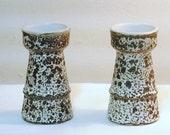 Pigeon Forge Pottery Tenn D Ferguson Candle Holders Vases Volcano Lava Pair