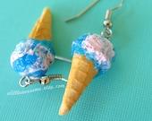 Cotton Candy Ice Cream Earrings, Ice Cream Jewelry, Food Jewelry, Miniature Food Earrings, Cotton Candy Jewelry