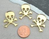 3 SKULL CABOCHONS- In GOLD Mirror Laser Cut Acrylic
