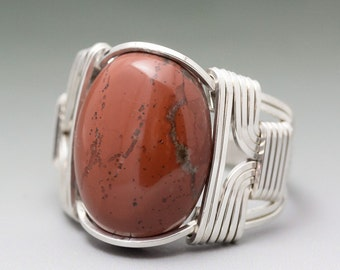Red Jasper Cabochon Sterling Silver Wire Wrapped Ring - Made to Order and Ships Fast!