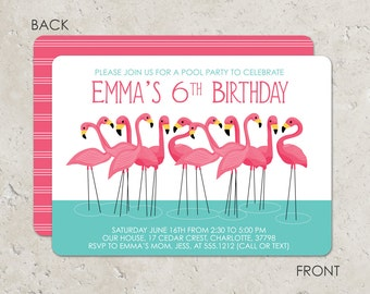 Flamingo Invitation, pink flamingo party, pink flamingo invite - Pool Party Invitation