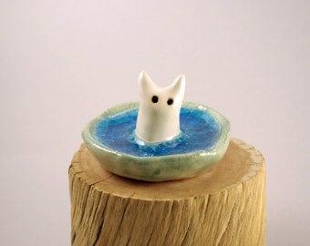 Ceramic Monster Figurine, Clay Creature in Blue Glass