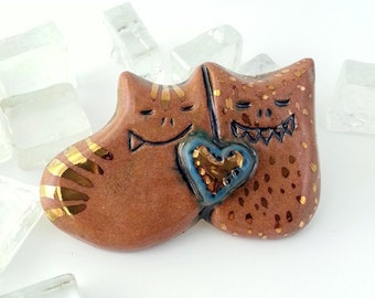 Cute Monster Brooch, Brown, Blue and Gold Monster Pin