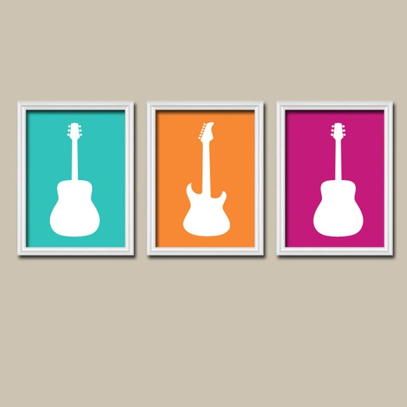 Girl Guitar Wall Art Music Theme Nursery Boy Bedroom By