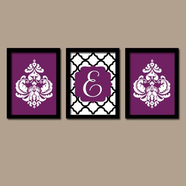Purple Wall Decor For Bathroom : Purple black wall art monogram bathroom by trmdesign