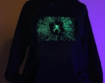 Glow in the Dark Spider Hoodie S M L XL 2XL