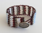 Beaded Bracelet with Amethyst Purple, Silver and Opal White Disc Beads and Antique Silver Button Clasp. Textured Stripes Bracelet S237